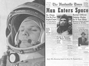 Yuri Gagarin is the first man in space on April 12, 1961