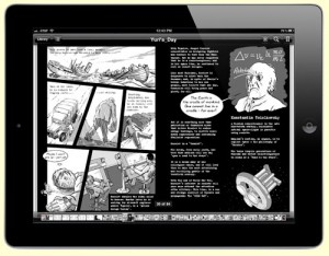 Korolev and Tsiolkovsky pages from Gagarin graphic novel book