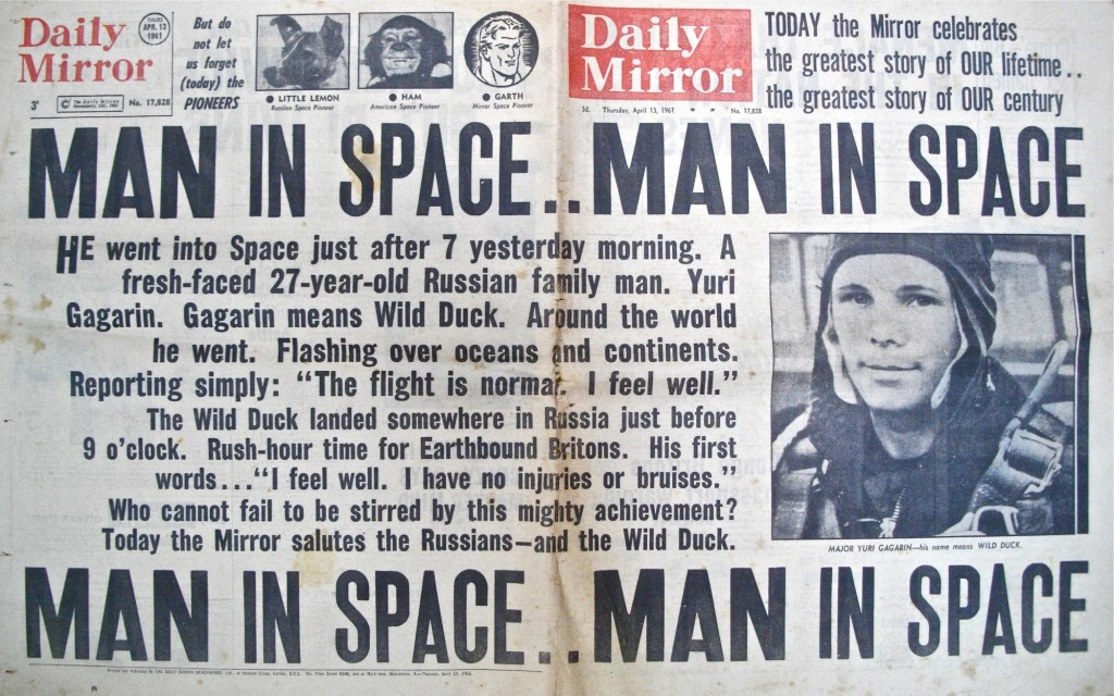 Yuri Gagarin front page photo, Daily Mirror... Man in Space