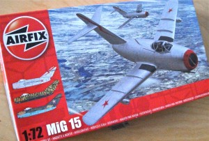 Airfix Mig15 box-art shows an icy landscape beneath the swept-back wings - much the same as Yuri would have seen on patrol near the Finnish border.